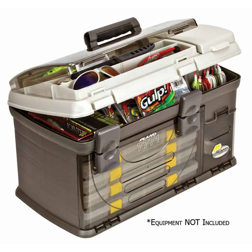 Plano Fishing Guide Series Five Utility Pro System Tackle Box, Graphite / Sandstone thebookongonefishing